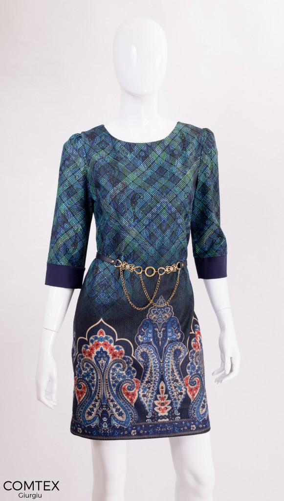 rochie cu pattern geometric colorat