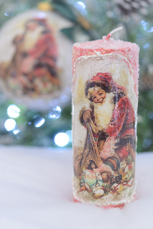 Lumanare Cu Santa, Cu Spatele Glazurat
